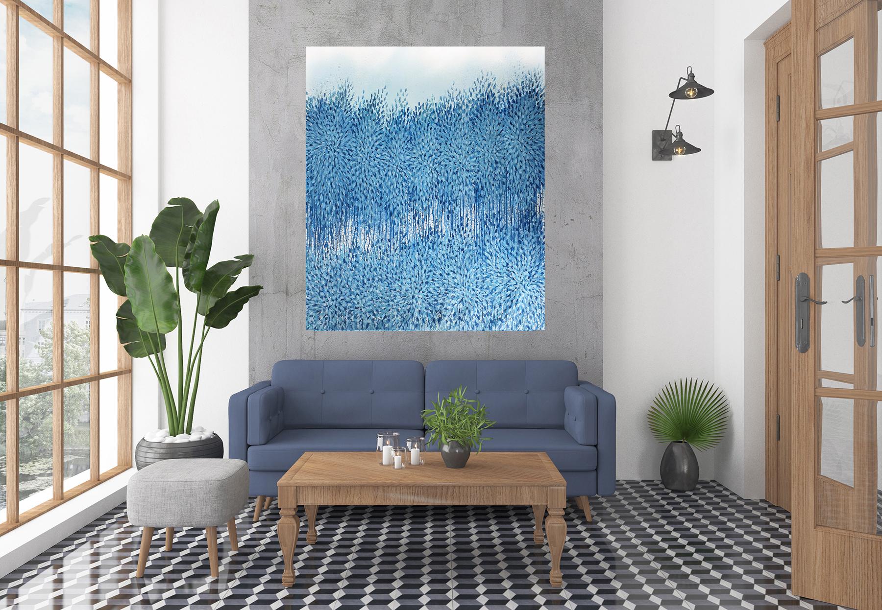 Artist Leni Kae Interior Design5b Blue Abtsract Art Awareness And Ascension In Blue Art Lovers Australia