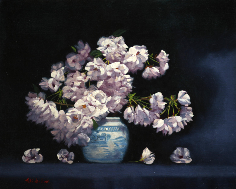 Cherry Blossoms In Blue And White Vase Vicki Sullivan Art Lovers Australia Oil On Linen H 40cm X W 50cm