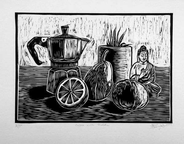 Linocut Of Coffee With Buddha