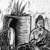 Linocut Of Coffee With Buddha Detail 3