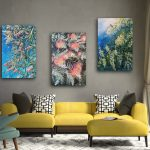 Wattle, Bottle Brush flower and Grevillea – Set of 3 -Wild Botanical Abstract Series