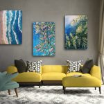Wattle, Bottle Brush flower and Seascape Abstract – Set of 3