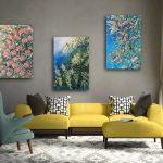 Wild Botanical Abstract Series  Set of 3
