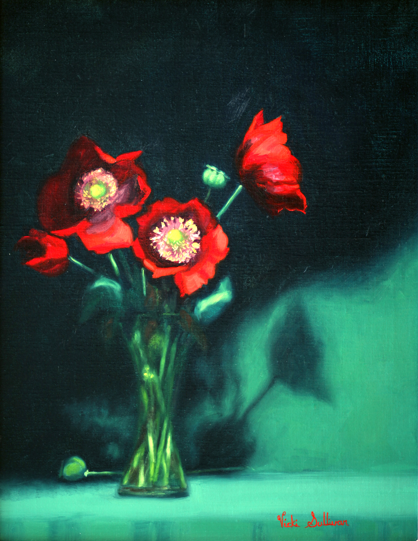 Poppy Passion Vicki Sullivan Art Lovers Australia Oil On Linen H 45cm X W 35cm