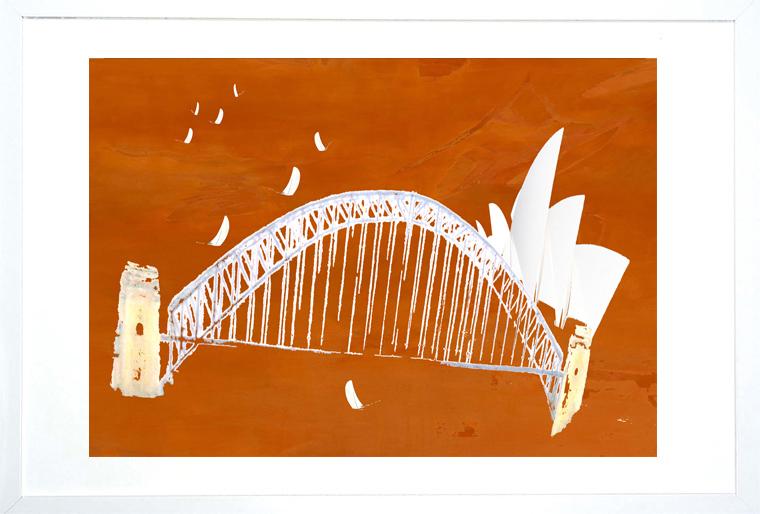 Red Haze Sydney Harbour Frame Copy
