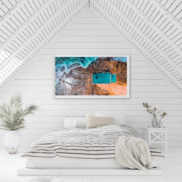 White Bedroom Interior In Attic, 3d Render