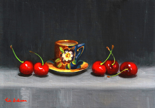 Cherries And Pansy Teacup Vicki Sullivan Art Lovers Australia Oil On Linen H 18.5cm X W 26cm 2020