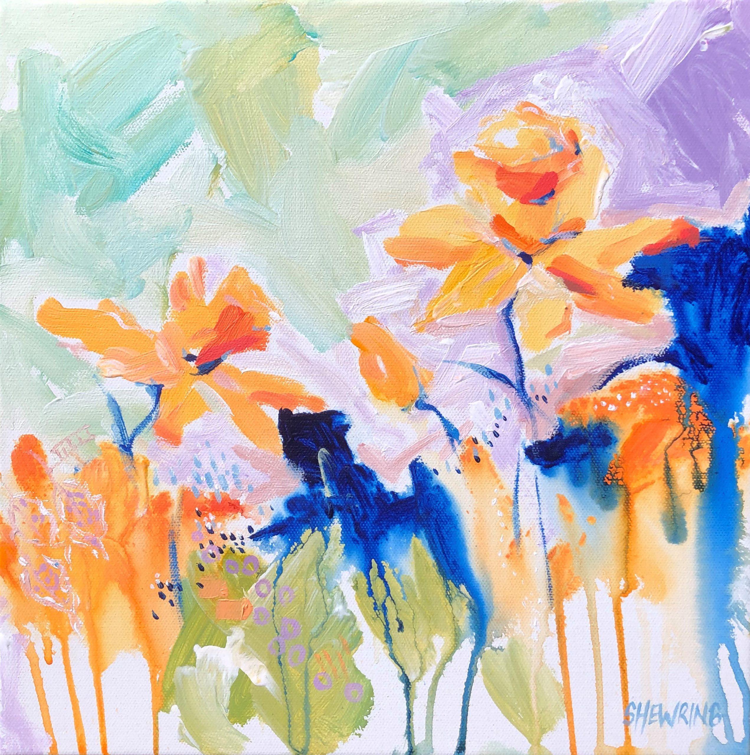 Daffodil Dance Jen Shewring 2020 Acrylic On Canvas 30×30 Cm