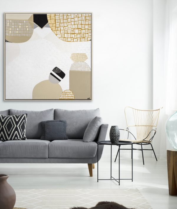 Lamp Above Grey Couch With Pillows In White Living Room Interior