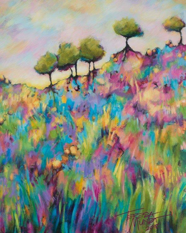 Grasslands By Teresa Mundt Colourful Colorful Acrylic Art Landscape Painting