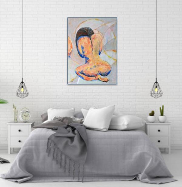 Kneeling Nude Bedroom