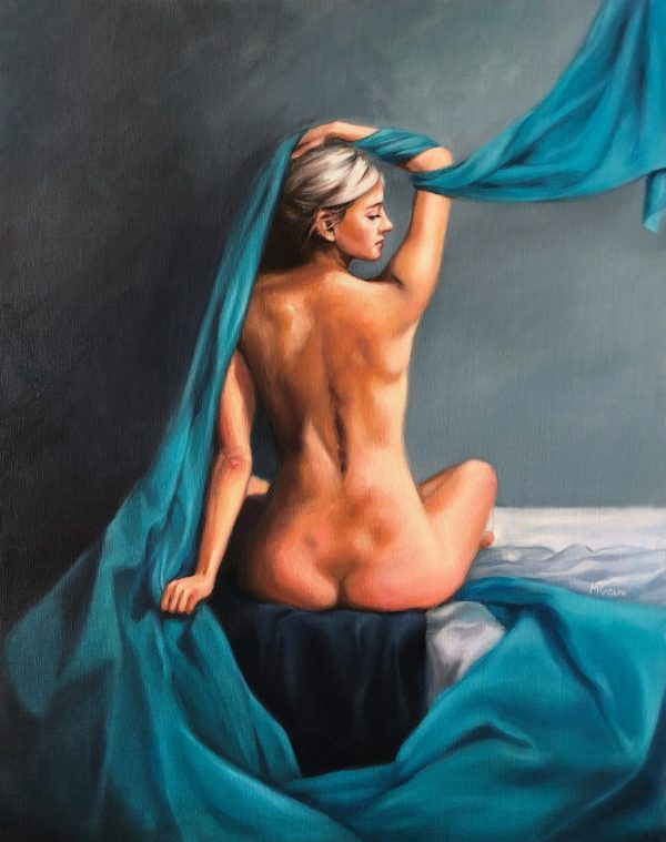 Back Study With Turquoise Drapery Maria Radun Art Lovers Australia