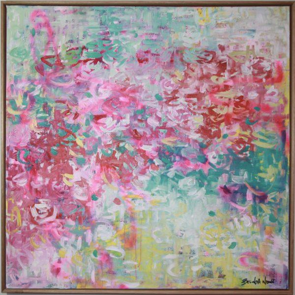 Belinda Nadwie Art Abstract Painting Forever Feeling Your Love Framed In Oak.