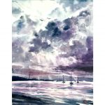 Cloudy seascape – Original watercolour painting