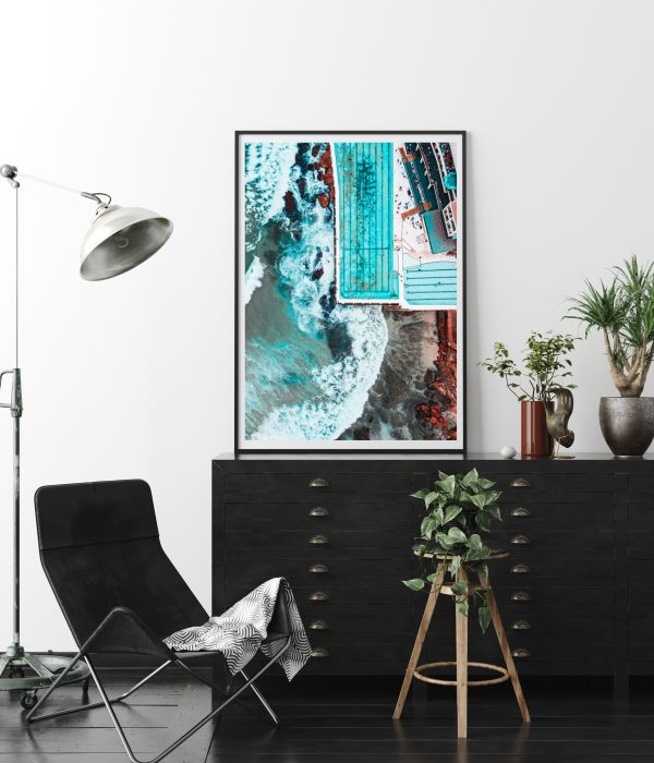 Poster, Wall Mockup In Interior Background With Dark Furniture,