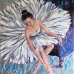 Ballet Dancer on Silver Background