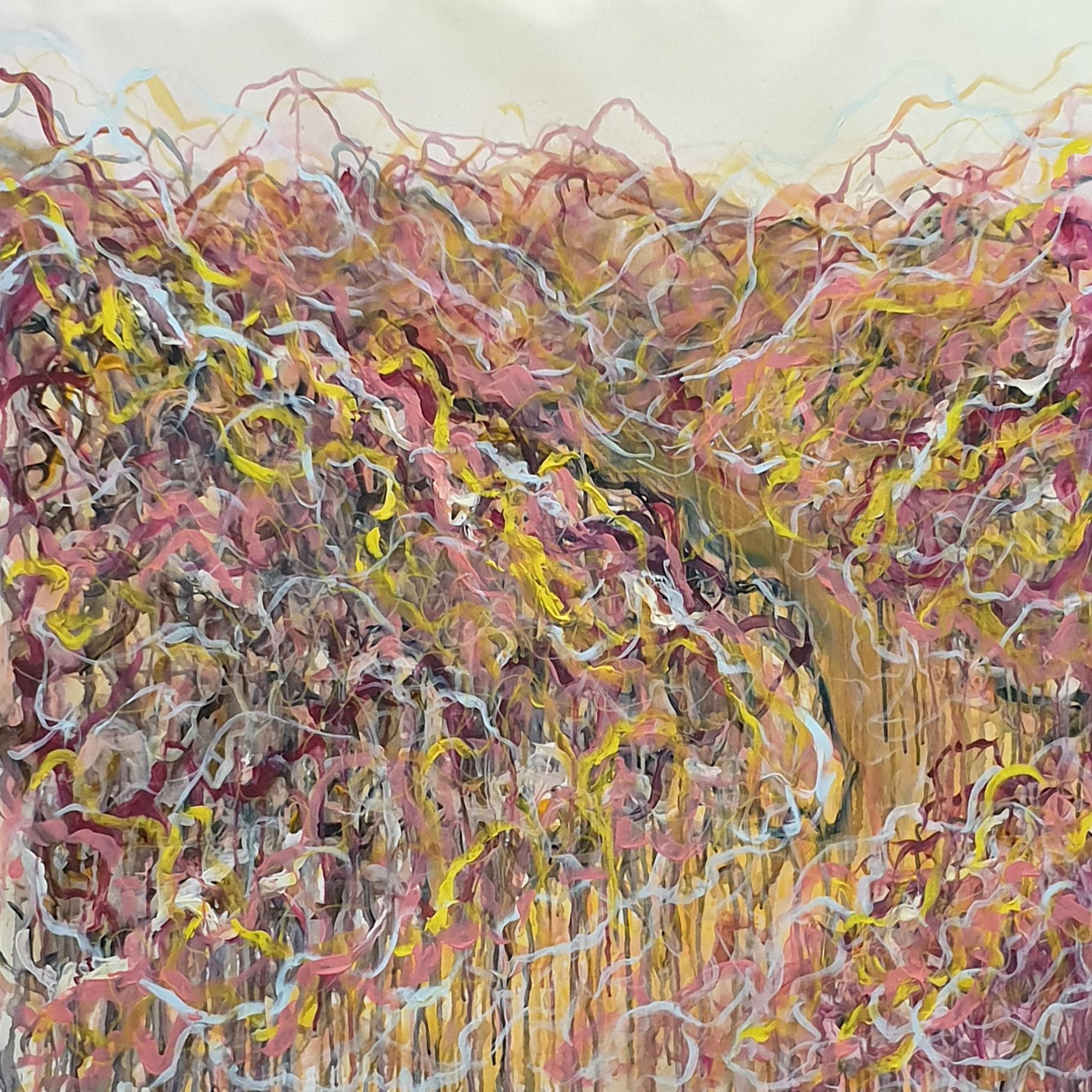 Artist Leni Kae Love On The Open Road Orange Pink Yellow Abstract Landscape