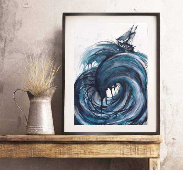 Artist Leni Kae Sailing The High Seas A2 Interiordesign1 Watercolour Mixed Media Art Zoom