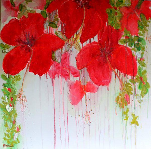 Happy Hibiscus Oil On Canva