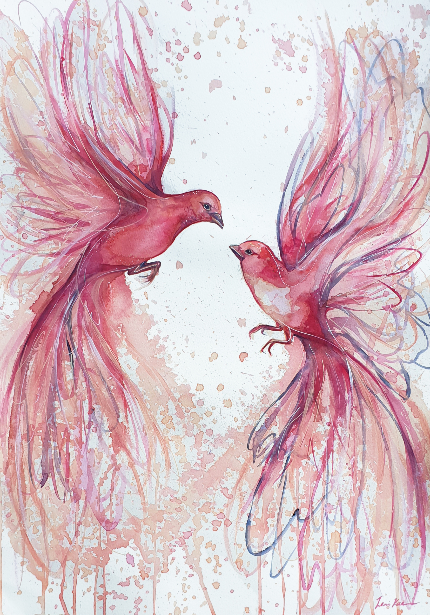 Leni Kae When Love Is In The Air Pink Birds Flying Watercolour Art 2