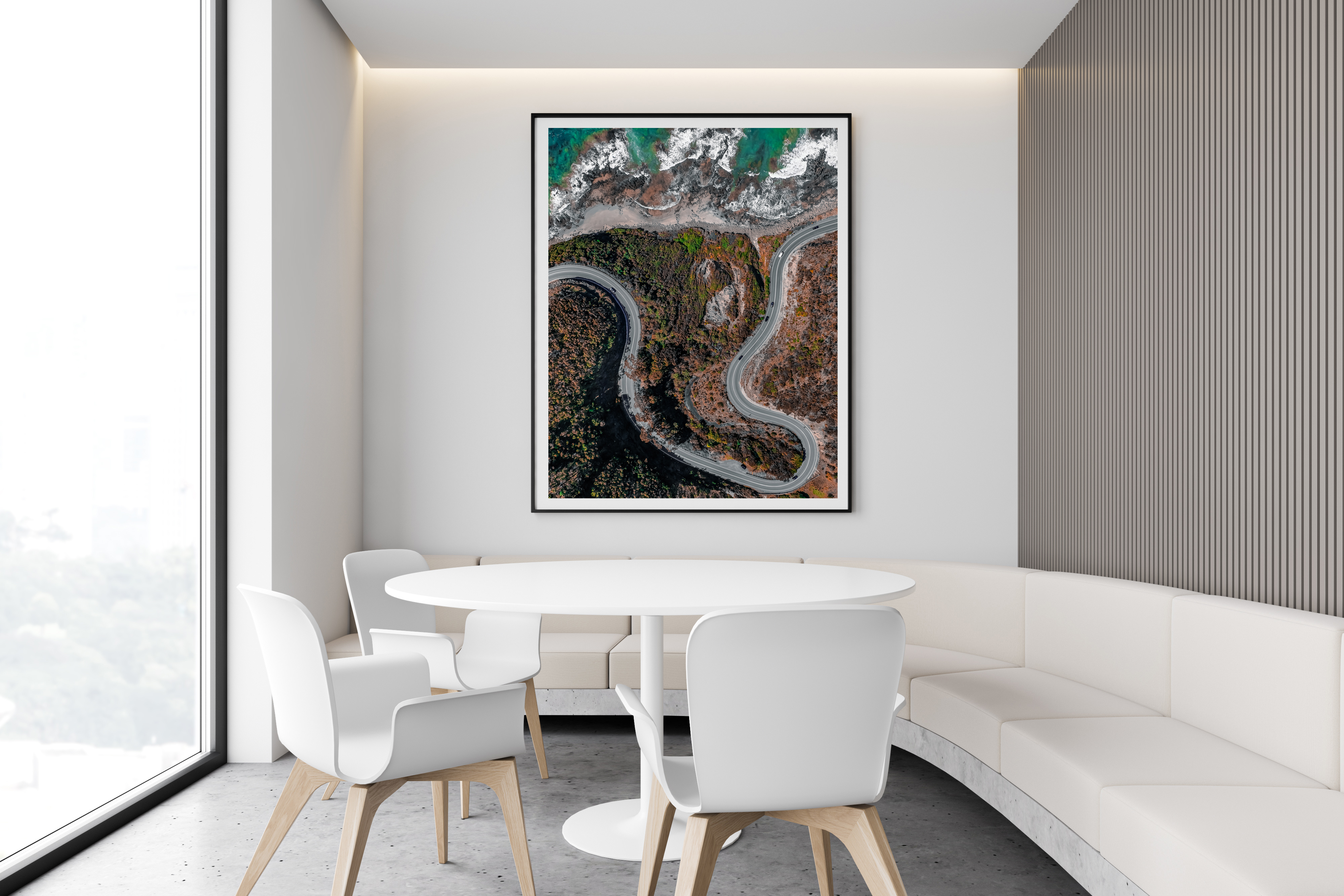 White Restaurant Interior With Sofa And Poster