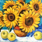 Sunflowers and apples still life