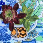 Orange Succulents and the Retro Barkcloth