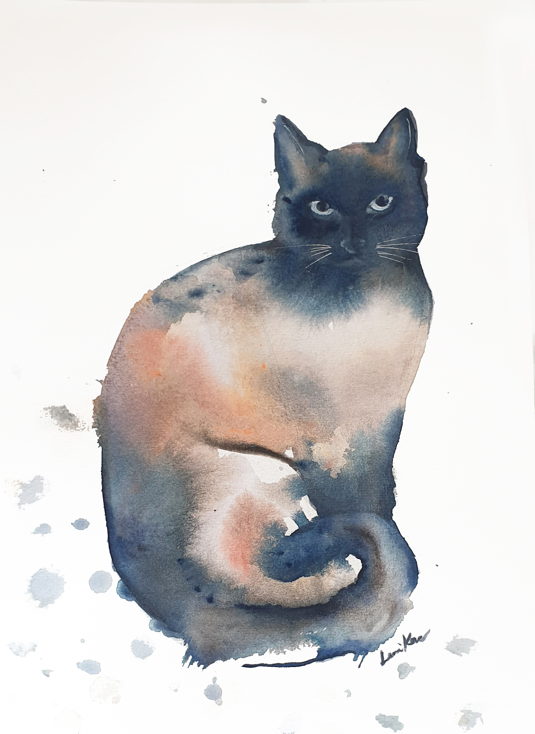 Artist Leni Kae I See You Watercolour Cat Painting A4