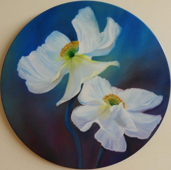 Clare Riddington Jones, Peace Flowers, 60cm Diam Timber Circle