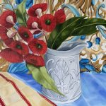 Red Gum Blossom and the Antique Stone ware Jug