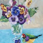 Pansies and Gouldian Finch