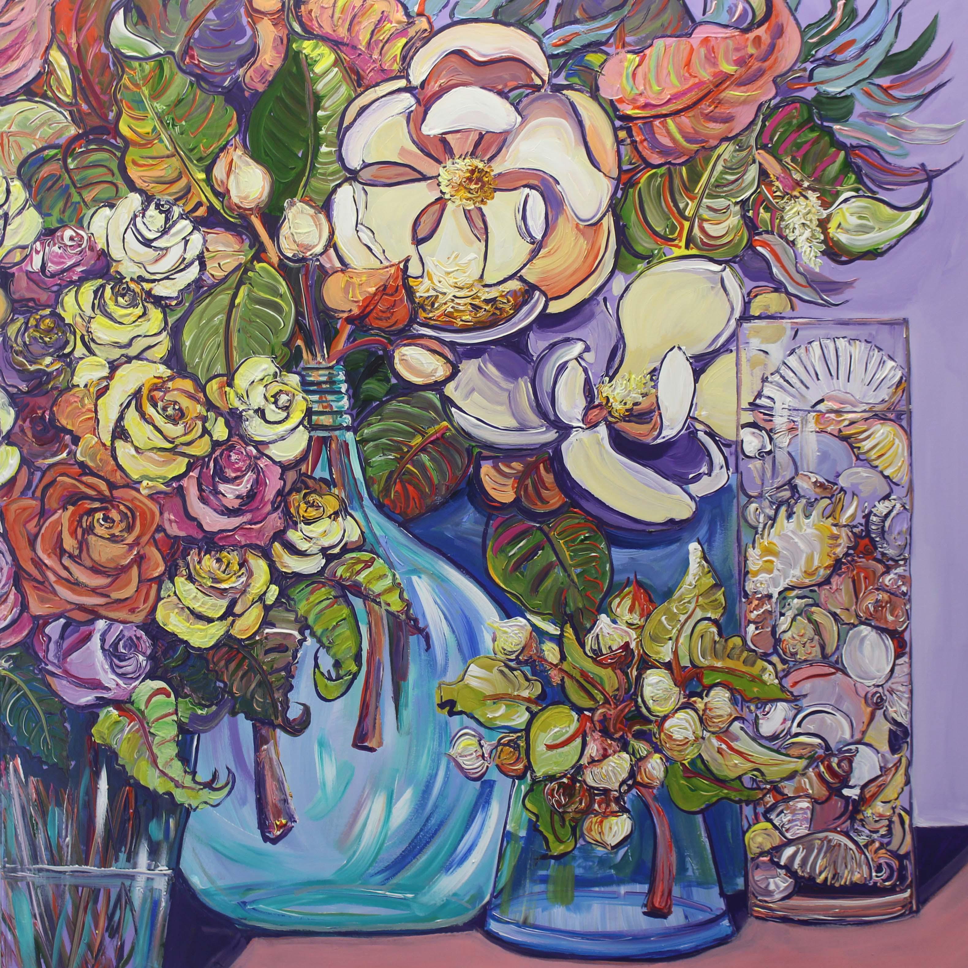 Roses And Magnolias No.2 Megan Barrass Sm