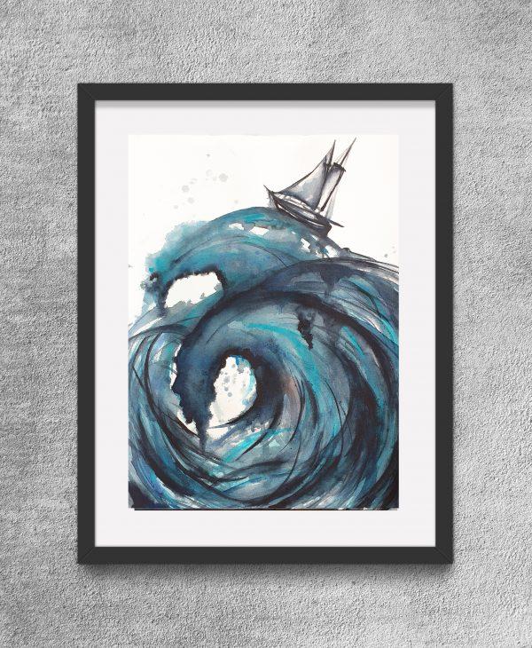 Sailing The High Seas Ii Framed Eg Artist Leni Kae Watercolour Art