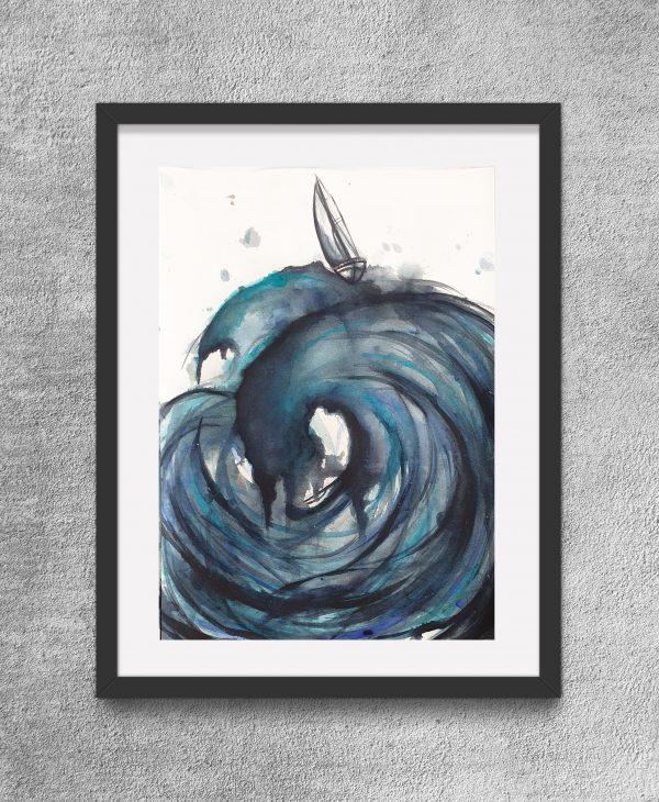 Sailing The High Seas Iii Framed Eg Artist Leni Kae Watercolour Art