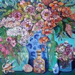 Vases, jars, flowers and shells