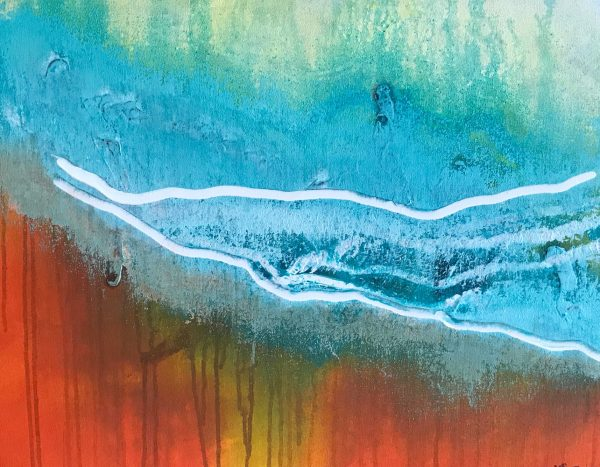 Yvette Swan, Waves Coming In, H41xw51cm, Synthetic Polymer On Canvas