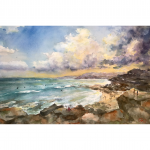 The Sydney Coastal Walk From Bondi Beach to Coogee Beach – Original watercolour painting