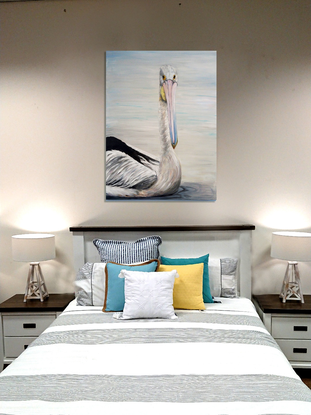 Pelican On Styled Bedroom Wall
