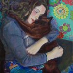 Entwined, girl and cat