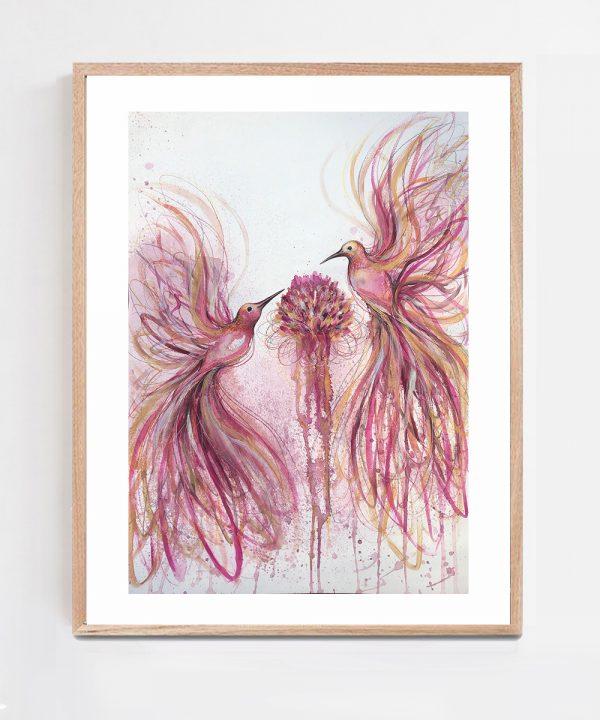 Artist Leni Kae Pink Hummingbird Joy (chrysanthemum Dreaming) Framed Eg Art Painting