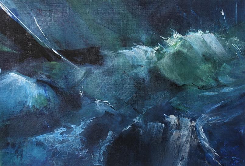 Dsc07464 Patriciawalshstudio Seascape Study #102 Acrylic On 290gsm Paper H297xw420mm
