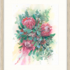 Pink Ice Proteas Bouquet In Oyster Frame