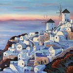 Santorini Wind Mills in Oia at Sunset