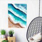 Splushing Waves – mixed media aerial ocean painting