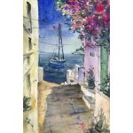 Sunny street – Original watercolour painting