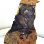 Australian Wombat with Joey, Hand-painted sculpture on camphor laurel