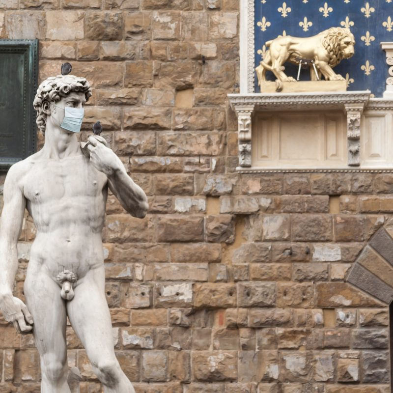 The Statue Of David In The Piazza Della Signoria In Italy Wearin