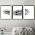 Feather Triptych ~ Black And White Set Of 3 Prints