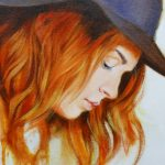 Girl with a Hat and Red Hair