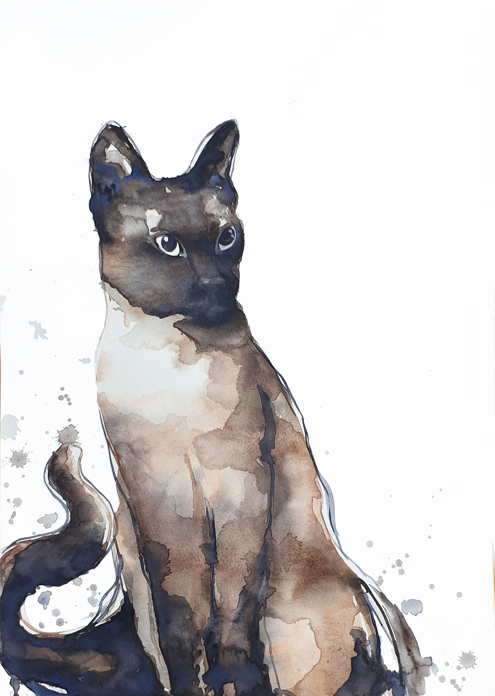 Artist Leni Kae Siamese Cat Watercolour Cat Painting Original Art2 Photo